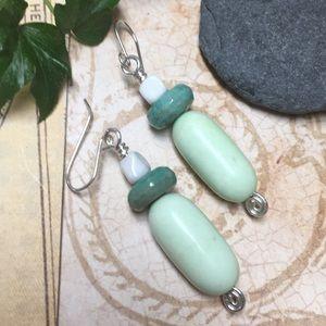 Chunky green lemon chrysoprase amazonite earrings